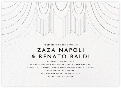 Normandie (Invitation) - White/Silver - Paperless Post - Wedding Invitations