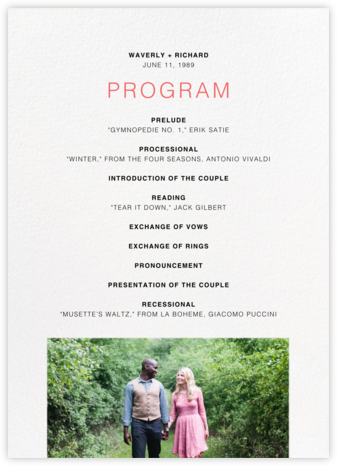 Tableau (Program) - Paperless Post - Wedding menus and programs - available in paper