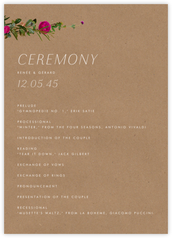 Belvoir (Program) - Chipboard - Paperless Post - Wedding menus and programs - available in paper