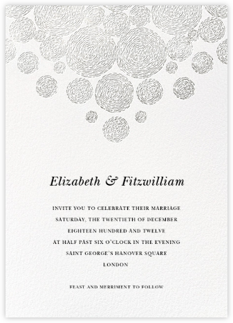 Radiant Swirls (Invitation) - Silver - Oscar de la Renta - Wedding Invitations