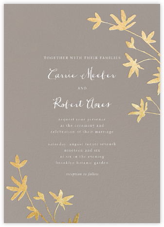 Oliver Park II (Invitation) - Taupe/Gold - kate spade new york - Wedding Invitations
