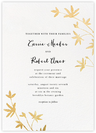 Oliver Park II (Invitation) - White/Gold - kate spade new york - Wedding Invitations