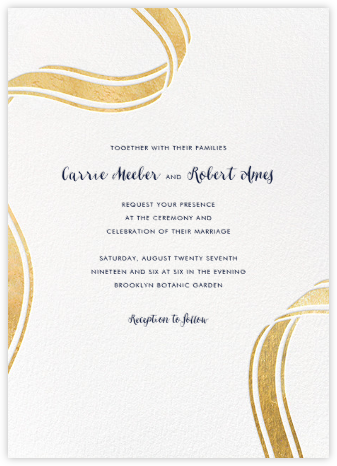 Ellis Hall II (Invitation) - Gold - kate spade new york - Online Wedding Invitations