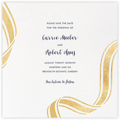 Ellis Hall II (Save the Date) - Gold - kate spade new york - Kate Spade invitations, save the dates, and cards