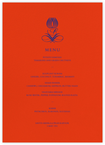 Emblem (Menu) - Flame - Bernard Maisner - Wedding menus and programs - available in paper