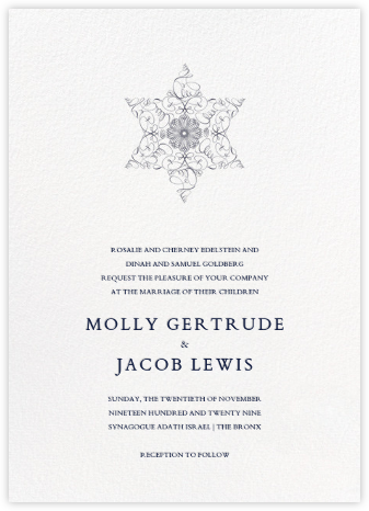 Magen David (Invitation) - Navy - Bernard Maisner - Classic wedding invitations
