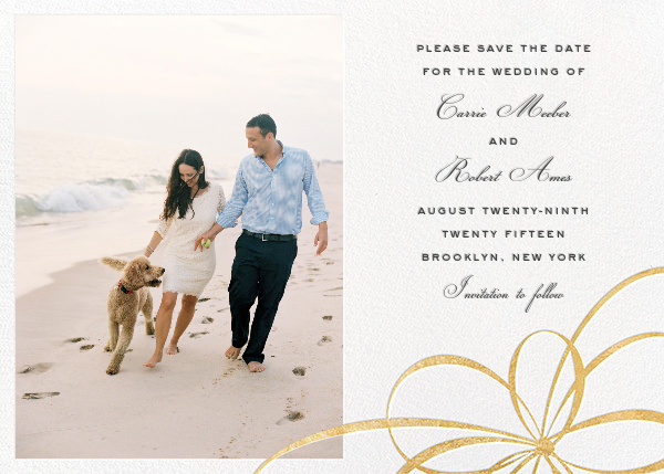 Belle Boulevard (Photo Save the Date) - Gold - kate spade new york - Kate Spade invitations, save the dates, and cards