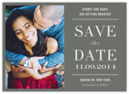 Typographic II (Photo Save the Date) - Gray - kate spade new york - Photo save the dates