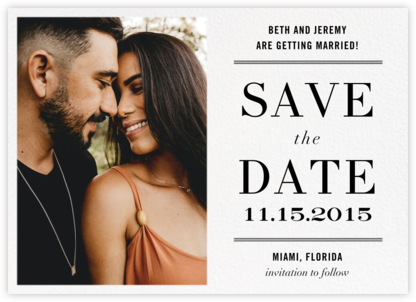 Typographic II (Photo Save the Date) - White - kate spade new york - Modern save the dates