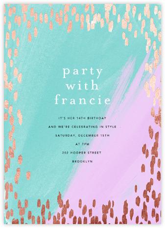Dappled - Lagoon/Rose Gold - Ashley G - Birthday invitations