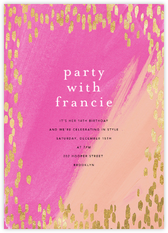 Dappled - Pink/Gold - Ashley G - Sweet 16 invitations