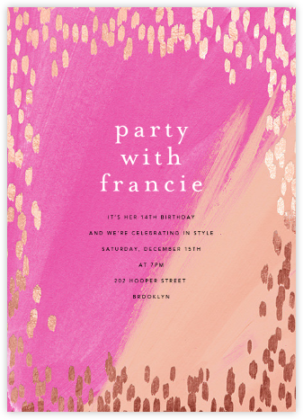 Dappled - Pink/Rose Gold - Ashley G - Online Kids' Birthday Invitations