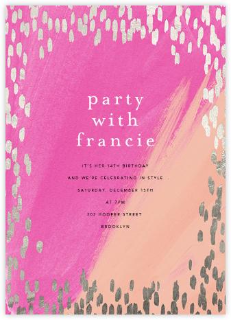 Dappled - Pink/Silver - Ashley G - Online Kids' Birthday Invitations