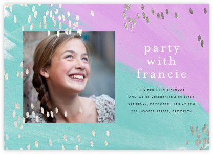 Dappled (Photo) - Lagoon/Silver - Ashley G - Online Kids' Birthday Invitations