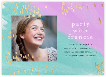 Dappled (Photo) - Lagoon/Gold - Ashley G - Online Kids' Birthday Invitations
