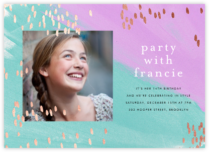 Dappled (Photo) - Lagoon/Rose Gold - Ashley G - Online Kids' Birthday Invitations