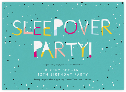 Sleepover - Lagoon - Ashley G - Online Kids' Birthday Invitations