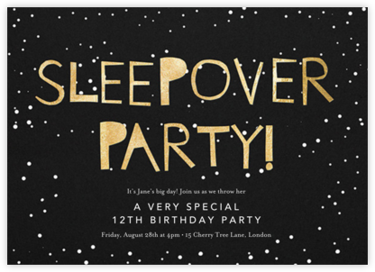 Sleepover - Black - Ashley G - Online Kids' Birthday Invitations