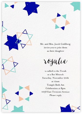 Star Shower - Indigo - Ashley G - Bat and Bar Mitzvah Invitations