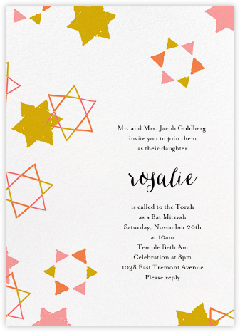Star Shower - Blossom - Ashley G - Bat and Bar Mitzvah Invitations