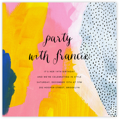 Sundry Strokes - Ashley G - Birthday invitations