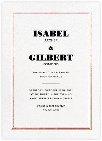 Triple Interior Border (Tall) - Rose Gold - Paperless Post - Wedding Invitations