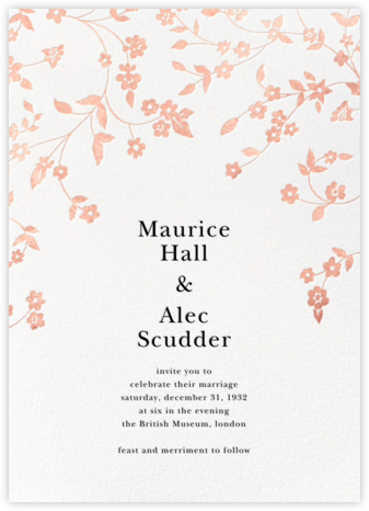 Floral Trellis II - White/Rose Gold - Oscar de la Renta - Wedding Invitations