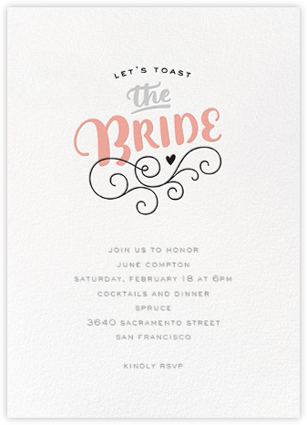 A Toast to the Bride - bluepoolroad - bluepoolroad invitations and cards