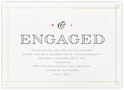 Classic Corners - Gold - bluepoolroad - Engagement party invitations