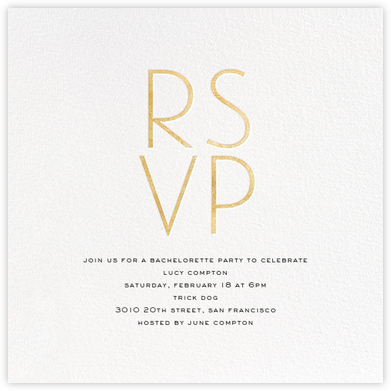 S'il Vous Plaît - Gold - bluepoolroad - Bachelorette party invitations