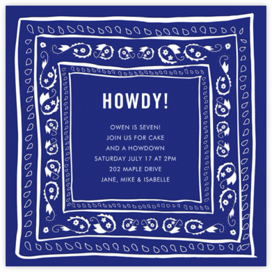 Bandana - Indigo - Linda and Harriett - Birthday invitations