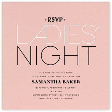 Ladies' Night - Pink - bluepoolroad - Bachelorette party invitations