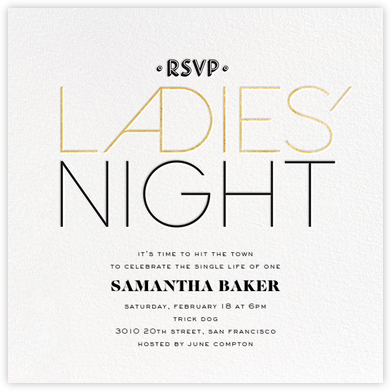 Ladies' Night - Gold - bluepoolroad - Bachelorette party invitations