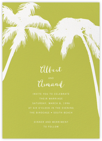 Tropical Palm - Chartreuse - Paperless Post - Wedding Invitations