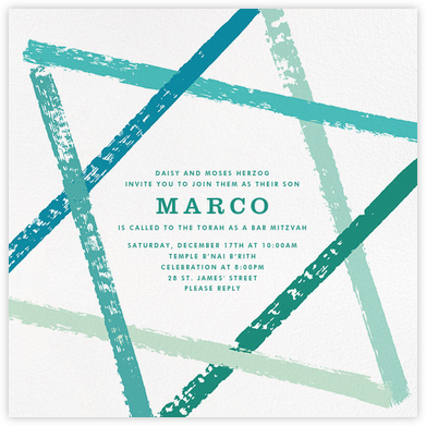 Brushstroke Star - Teal - Paperless Post - Bat and Bar Mitzvah Invitations