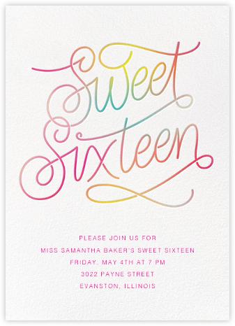 Neon Sixteen - White - Paperless Post - Sweet 16 invitations