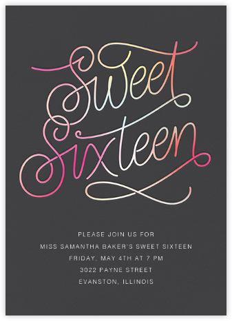 Neon Sixteen - Slate - Paperless Post - Sweet 16 invitations
