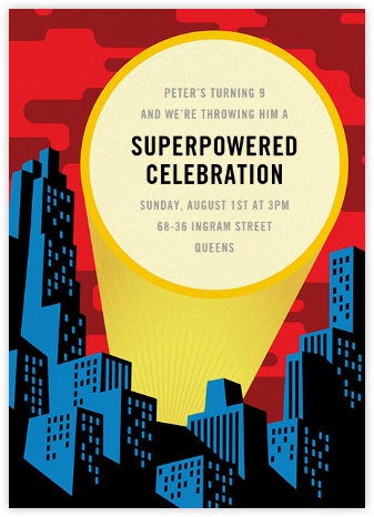 Spotlight Over Gotham - Paperless Post - Online Kids' Birthday Invitations
