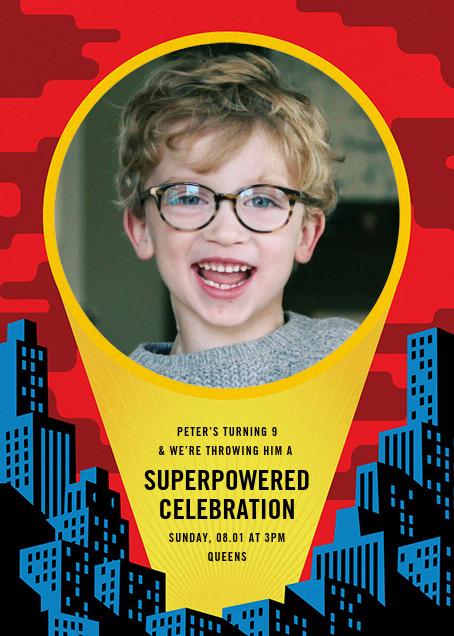 Spotlight Over Gotham (Photo) - Paperless Post - Kids' birthday invitations