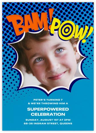 Bam Bam Pow (Photo) - Blue - Paperless Post - Invitations