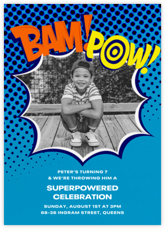 Bam Bam Pow (Photo) - Blue - Paperless Post - Superheroes