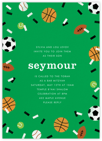 Sportsfetti - Emerald - Paperless Post - Bat and Bar Mitzvah Invitations