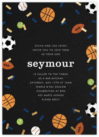 Sportsfetti - Black - Paperless Post - Bat and Bar Mitzvah Invitations