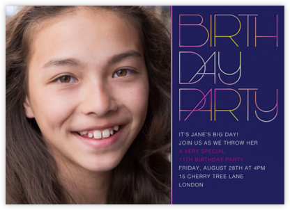 Birthday Candle Lighting (Photo) - Royal Blue - Paperless Post - Online Kids' Birthday Invitations