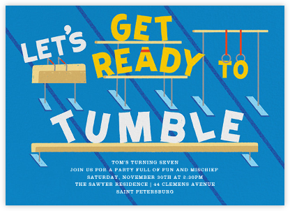Let's Get Ready to Tumble - Capri - Paperless Post - Kids' birthday invitations