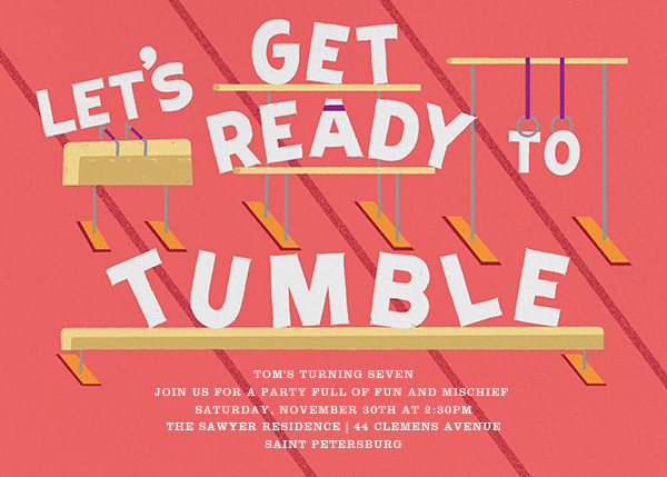 Let's Get Ready to Tumble - Coral - Paperless Post - Kids' birthday invitations