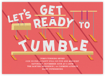 Let's Get Ready to Tumble - Coral - Paperless Post - Birthday invitations