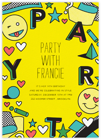 Emoji Fest - Paperless Post - Birthday invitations