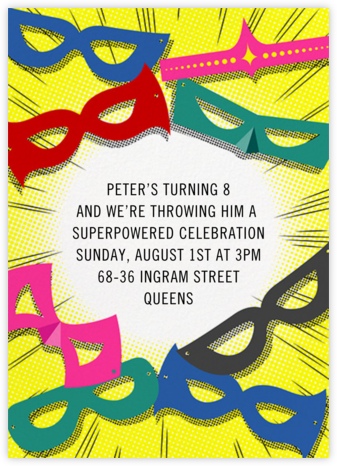 Superheroes - Paperless Post - Online Kids' Birthday Invitations