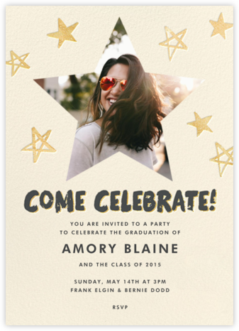 Reach for the Stars (Invitation) - Gold - Hello!Lucky - Online Party Invitations